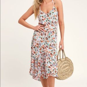 Lulus White Floral Print Swim Cover-Up - Size S